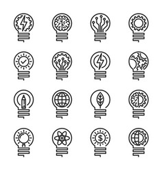 Lightbulb thin line icon set editable stroke vector