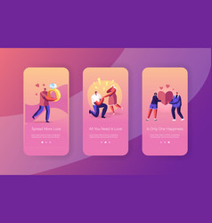 love engagement mobile app page onboard screen set vector image