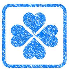 Lucky cloever framed grunge icon vector