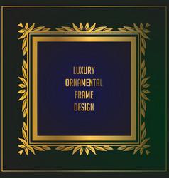 Luxury square golden floral frame design gold vector