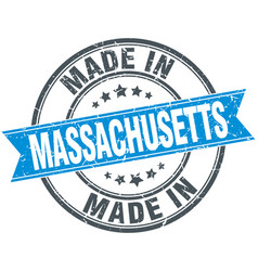 Made in massachusetts blue round vintage stamp vector