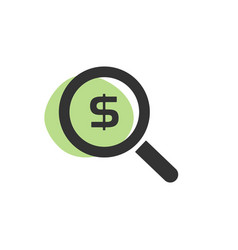 Magnifying glass looking for dollars isolated web vector
