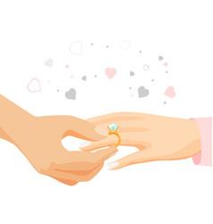 male hand puts diamond ring on female finger vector image