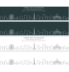 melbourne single line skyline banner vector image
