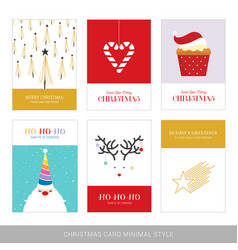merry christmas cards set with hand drawn vector image
