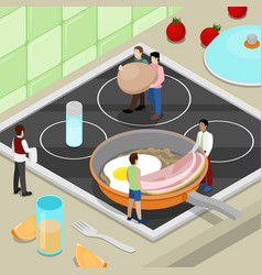 Miniature people cooking breakfast on the kitchen vector