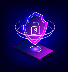 Mobile security app on 3d smartphone screen vector