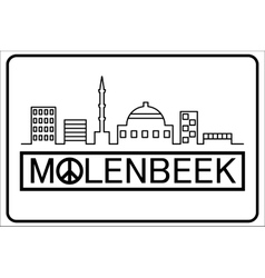 Molenbeek text with buildings outline vector image
