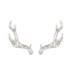 Monochrome drawing deer stag or hart antlers vector
