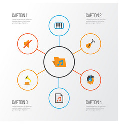 Multimedia flat icons set collection of portfolio vector