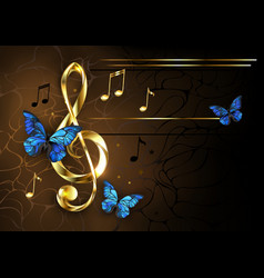 Musical key with blue butterflies vector
