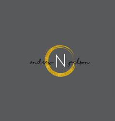 n letter logo design with gold rounded texture vector image