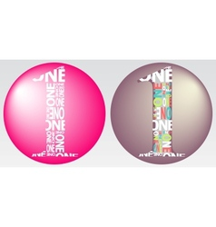 Number One Filled with Colourful Words vector image