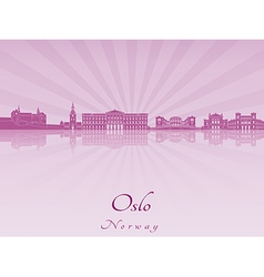 Oslo skyline in purple radiant orchid vector image