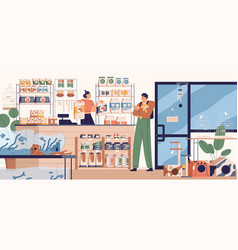 people in pet store buying food for dog buyer vector image