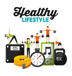 people physical sport training fitness healthy vector image