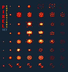 pixel art explosions game icons set comic boom vector image