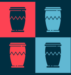 Pop art drum icon isolated on color background vector