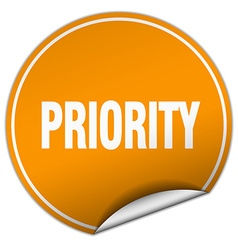 Priority round orange sticker isolated on white vector