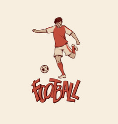 retro young football soccer in sports uniform vector image