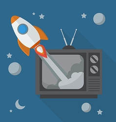 Rocket launching from retro television vector image
