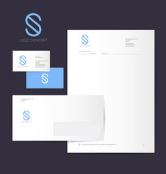 S logo identity blue line style vector