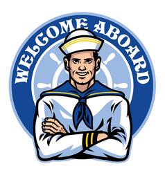 sailor badge design vector image