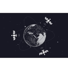 Satellites orbiting around the Earth vector