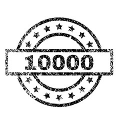 Scratched textured 10000 stamp seal vector