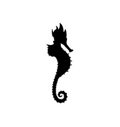 Sea horse silhouette vector