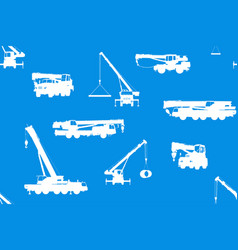 seamless background with truck cranes vector image