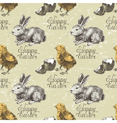 seamless with chick and rabbit vector image