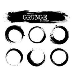 set abstract grunge circle shapes vector image