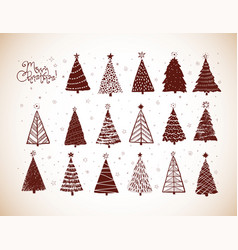 set christmas tree doodles in vintage style vector image
