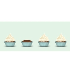 Set of 4 cupcakes vector image