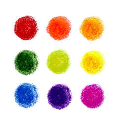 Set of crayon scribble texture stain isolated vector