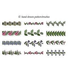 Set of twelve hand drawn pattern floral brushes vector image