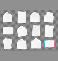 Set of various blank white paper vector