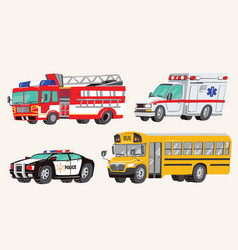 Set toy social vehicles special machines vector