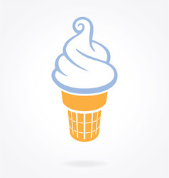 Simple fun soft serve icecream in waffle cone vector