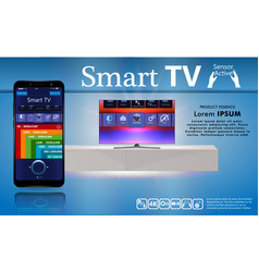 smart tv is on table smart tv interface vector image