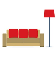 Sofa With Modern Lamp On White Background vector image