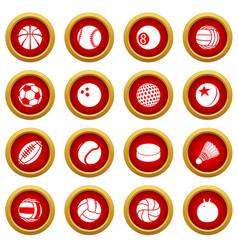 sport balls icons set play types simple style vector image