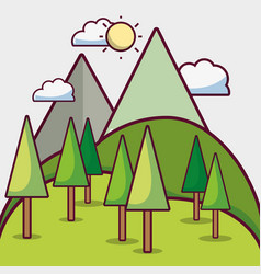 Sun weather witn pine trees and mountains vector