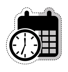 Time clock with calendar isolated icon vector