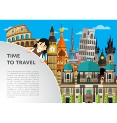 Time to travel template with famous attractions vector image