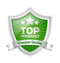 Top product shield with premium quality ribbon vector