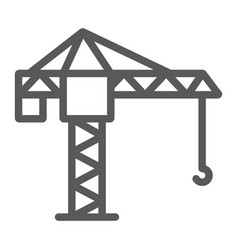 tower crane line icon lifting and building vector image