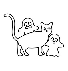 trick or treat - happy halloween line style vector image
