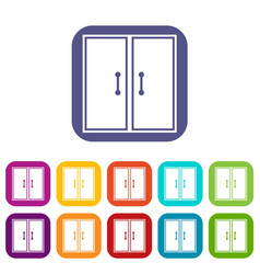 Two glass doors icons set vector